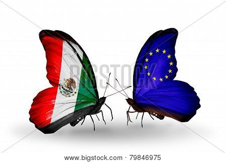 Two Butterflies With Flags On Wings As Symbol Of Relations Mexico And Eu