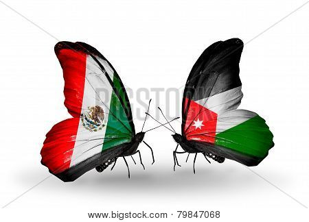 Two Butterflies With Flags On Wings As Symbol Of Relations Mexico And Jordan