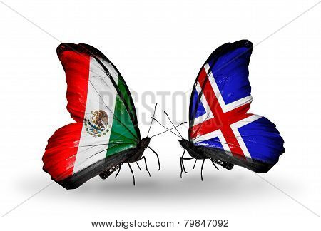 Two Butterflies With Flags On Wings As Symbol Of Relations Mexico And Iceland