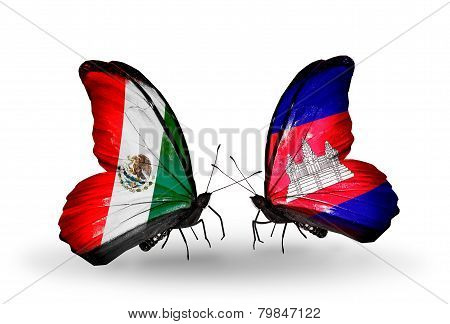 Two Butterflies With Flags On Wings As Symbol Of Relations Mexico And Cambodia