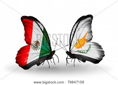 Two Butterflies With Flags On Wings As Symbol Of Relations Mexico And Cyprus