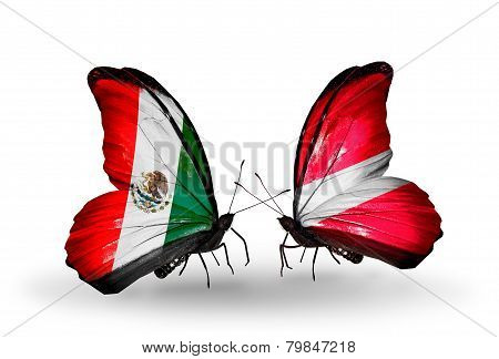 Two Butterflies With Flags On Wings As Symbol Of Relations Mexico And Latvia
