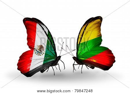 Two Butterflies With Flags On Wings As Symbol Of Relations Mexico And Lithuania