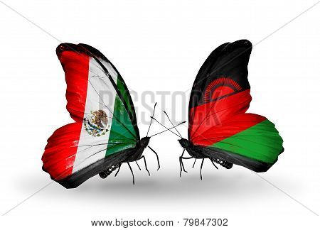 Two Butterflies With Flags On Wings As Symbol Of Relations Mexico And Malawi