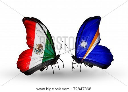 Two Butterflies With Flags On Wings As Symbol Of Relations Mexico And  Marshall Islands