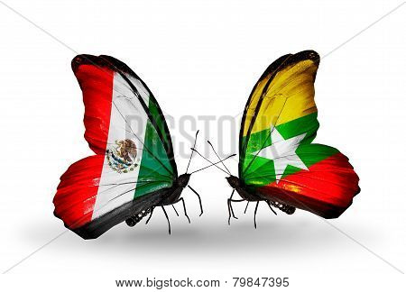 Two Butterflies With Flags On Wings As Symbol Of Relations Mexico And  Myanmar