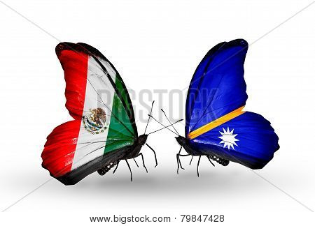 Two Butterflies With Flags On Wings As Symbol Of Relations Mexico And  Nauru