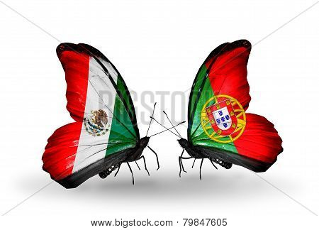 Two Butterflies With Flags On Wings As Symbol Of Relations Mexico And Portugal