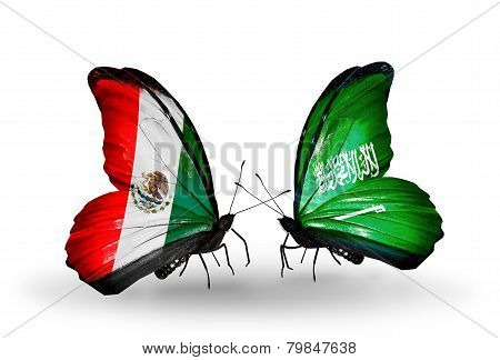 Two Butterflies With Flags On Wings As Symbol Of Relations Mexico And Saudi Arabia