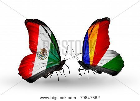 Two Butterflies With Flags On Wings As Symbol Of Relations Mexico And Seychelles