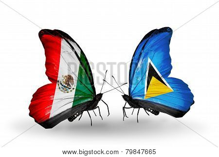 Two Butterflies With Flags On Wings As Symbol Of Relations Mexico And Saint Lucia