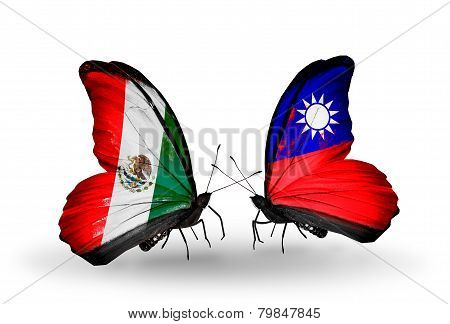 Two Butterflies With Flags On Wings As Symbol Of Relations Mexico And Taiwan