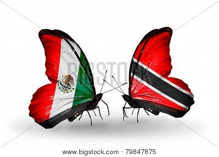 Two Butterflies With Flags On Wings As Symbol Of Relations Mexico And Trinidad And Tobago