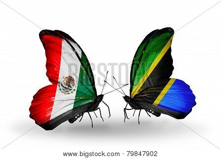 Two Butterflies With Flags On Wings As Symbol Of Relations Mexico And Tanzania