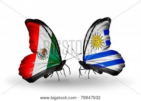 Two Butterflies With Flags On Wings As Symbol Of Relations Mexico And Uruguay