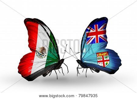 Two Butterflies With Flags On Wings As Symbol Of Relations Mexico And Fiji