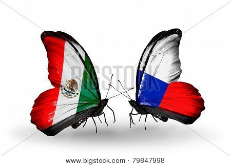 Two Butterflies With Flags On Wings As Symbol Of Relations Mexico And Czech