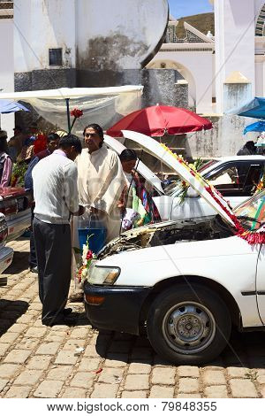 Car Blessing in Copacabana, Bolivia