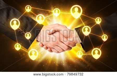 Business handshake, Social media concept