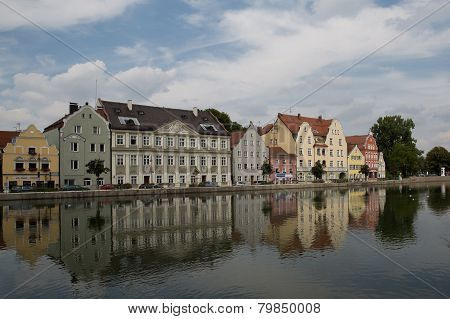 Old townhouses at the Isar by Landshut