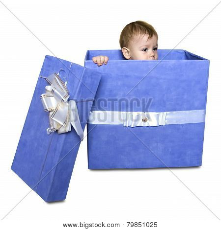 Baby Inside A Gift Box Isolated On A White Background