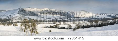 Beautiful Panorama Winter Landscape Of Snow Covered Countryside In Late Afternoon Light