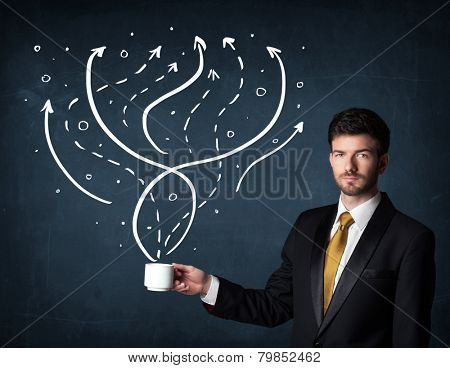 Businessman standing and holding a white cup with drawn lines and arrows coming out of the cup