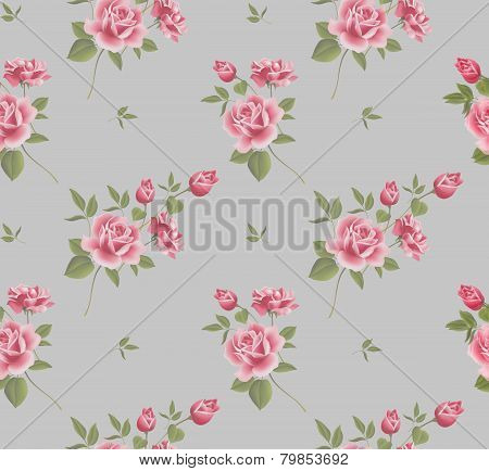 Beautiful Seamless Floral Pattern, Flower Vector Illustration. Elegance Wallpaper With Of Pink Roses