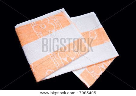 Towel Washcloth Isolated At Black Background