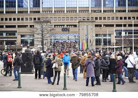 Citizen Walking At Brussels On Sunday, January 11, 2015