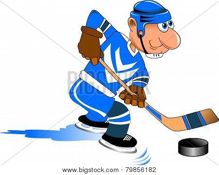 Hockey Player In Blue