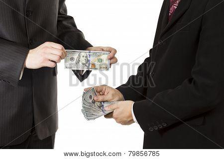 Men hands hold dollars