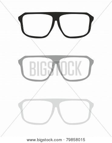 Glasses vector set with black and grey holder hipster object isolated on white background