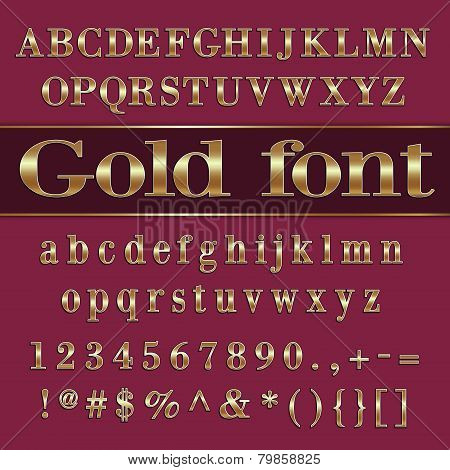Vector gold coated alphabet letters and digits on purple background
