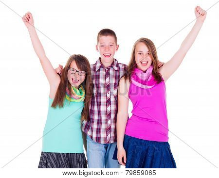 Teen Boy With Happy Girlfriends