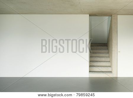 Modern building, granite staircase, interior