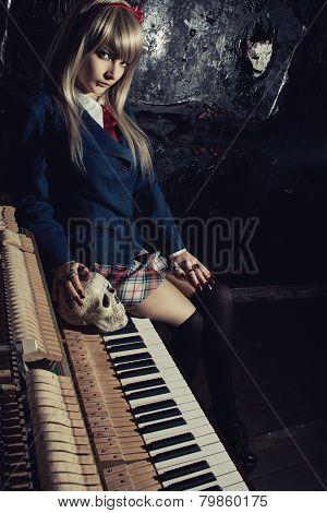 Schoolgirl With Skull