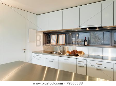 Modern architecture, comfortable apartment, kitchen view
