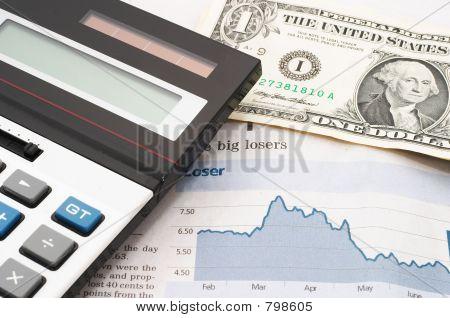 Stock market chart, down, losses
