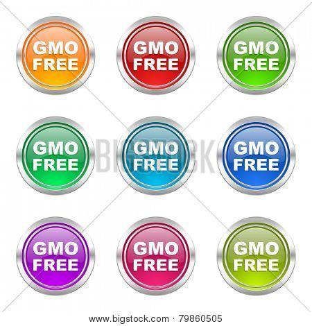 gmo free icons set no gmo sign