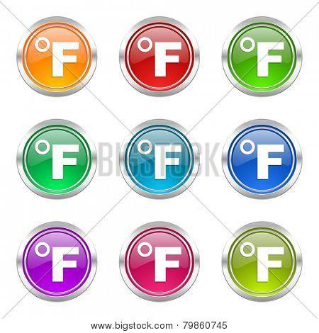fahrenheit icons set temperature unit sign