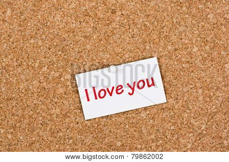 I Love You Note On Pinboard