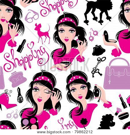 Seamless Pattern For Fashion Design, Glamor Lovely Girls Using Different Tools To Apply Make-up And