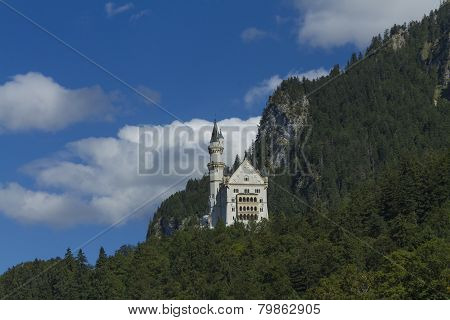 Neuschwanstein Castle Amongst Green Trees, Bavarian Alps.