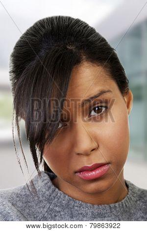 Upset woman having a doubt