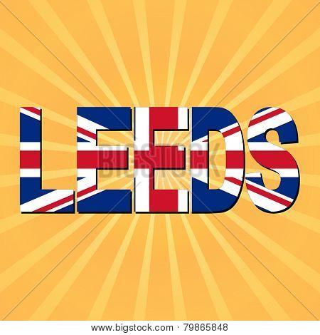 Leeds flag text with sunburst illustration