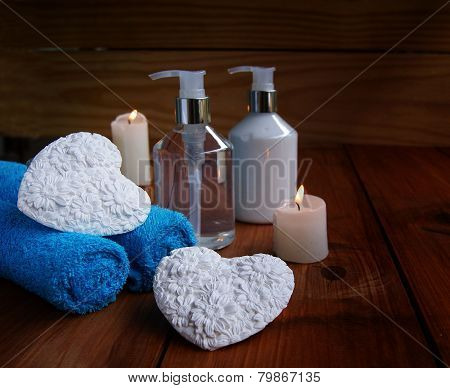 Bathroom and spa, towels, bath, bathroom hearts for Valentine's