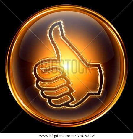 Thumb Up Icon Golden.