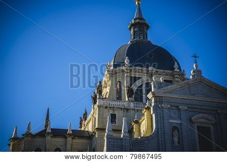 Ancient church, Almudena Cathedral, located in the area of the Habsburgs, classical architecture