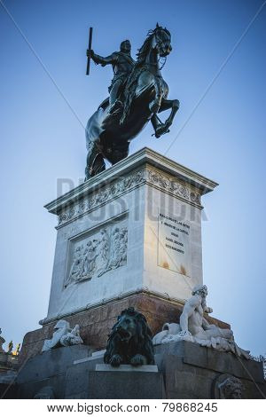 sculpture of King horseback, oldest street in the capital of Spain, the city of Madrid, its architecture and art